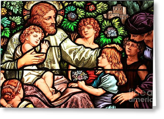 Jesus Artwork Photographs Greeting Cards - Let The Children Come To Me Greeting Card by Adam Jewell