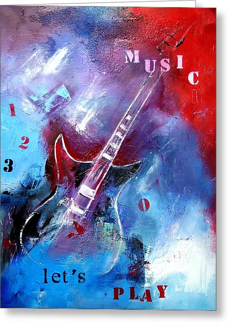 Abstraction Mixed Media Greeting Cards - Let the music play Greeting Card by Elise Palmigiani