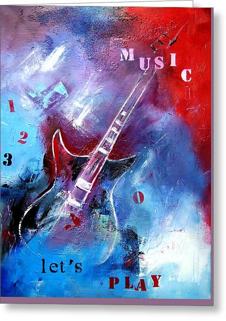Abstractions Mixed Media Greeting Cards - Let the music play Greeting Card by Elise Palmigiani