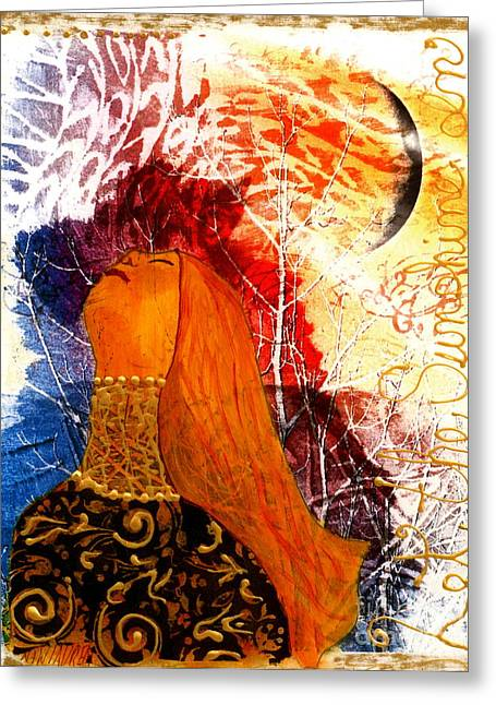 Moon Mixed Media Mixed Media Greeting Cards - Let The Sunshine In Greeting Card by Nancy TeWinkel Lauren