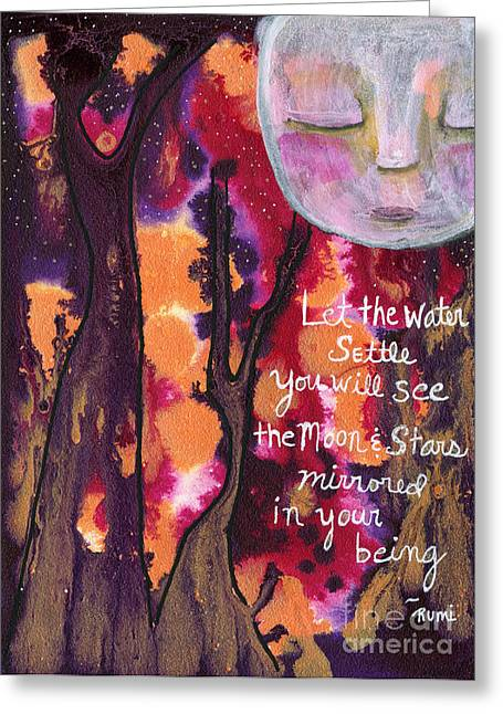 Rumi Greeting Cards - Let the water settle Greeting Card by AnaLisa Rutstein