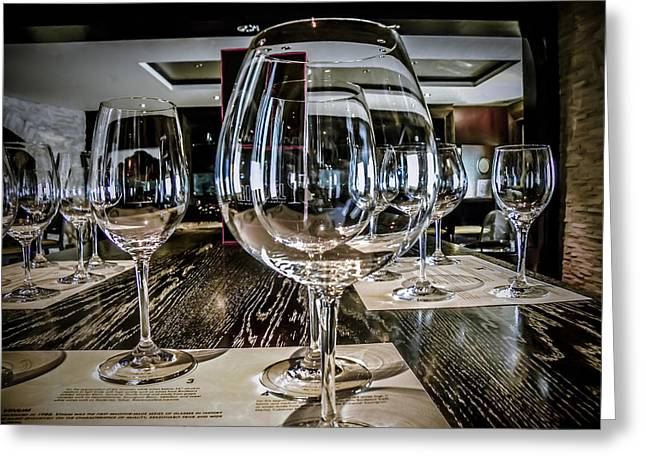 Many Glasses Greeting Cards - Let The Wine Tasting Begin Greeting Card by Julie Palencia