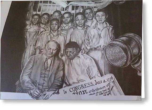 Civil Rights Drawings Greeting Cards - Let there be Justise Greeting Card by Stacey Hall