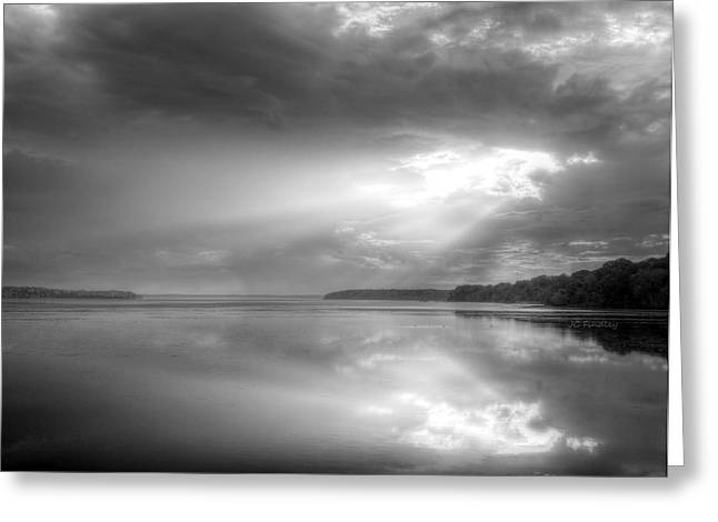 Let There Be Light Black and White Greeting Card by JC Findley