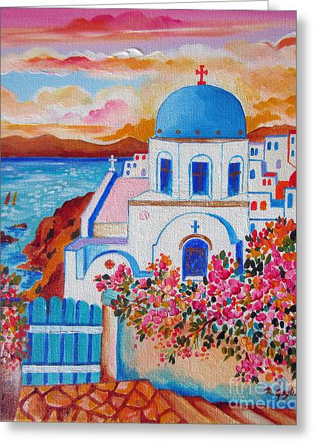 Village By The Sea Greeting Cards - Let us go to Santorini Greeting Card by Roberto Gagliardi