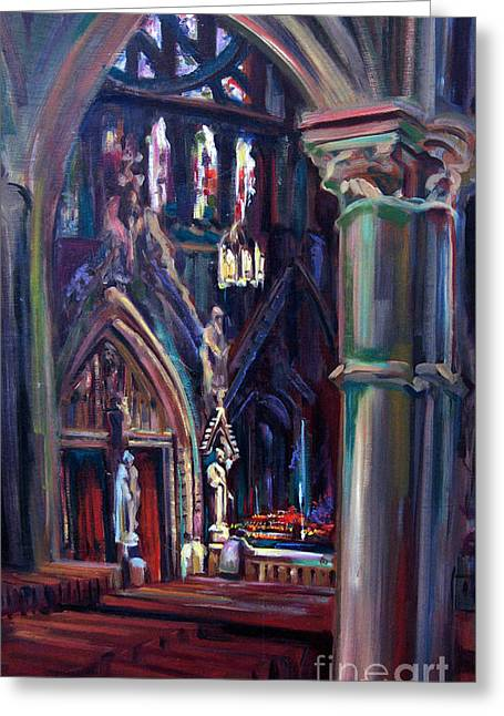 Church Pillars Paintings Greeting Cards - Let Us Pray Greeting Card by John  Reilly