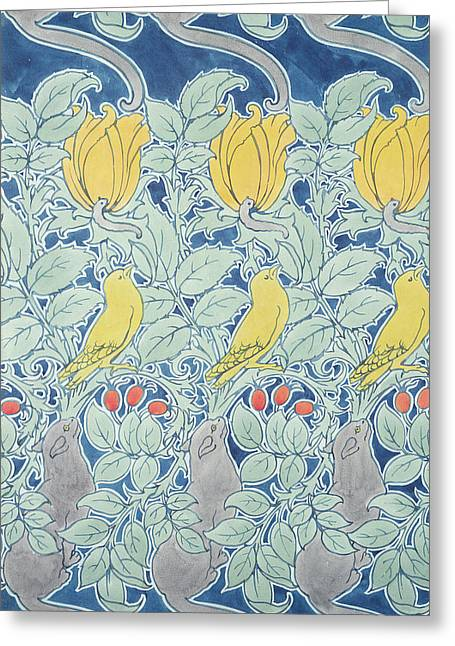 Repetition Greeting Cards - Let Us Prey wallpaper Greeting Card by Charles Francis Annesley Voysey