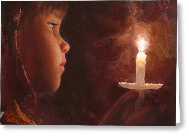 Candle Lit Greeting Cards - Let Your Light Shine Girl and Candlelight Service Greeting Card by Karen Whitworth