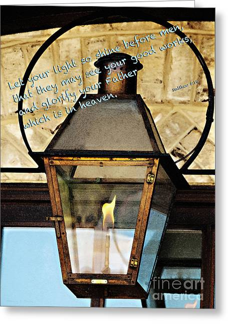 Stein Greeting Cards - Let Your Light Shine Greeting Card by Nancy E Stein