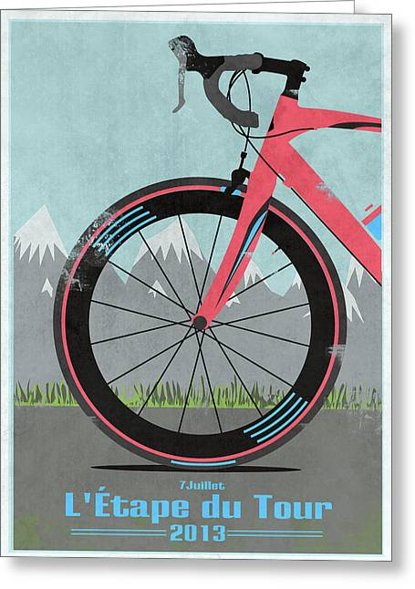 Wiggins Greeting Cards - LEtape du Tour Bike Greeting Card by Andy Scullion