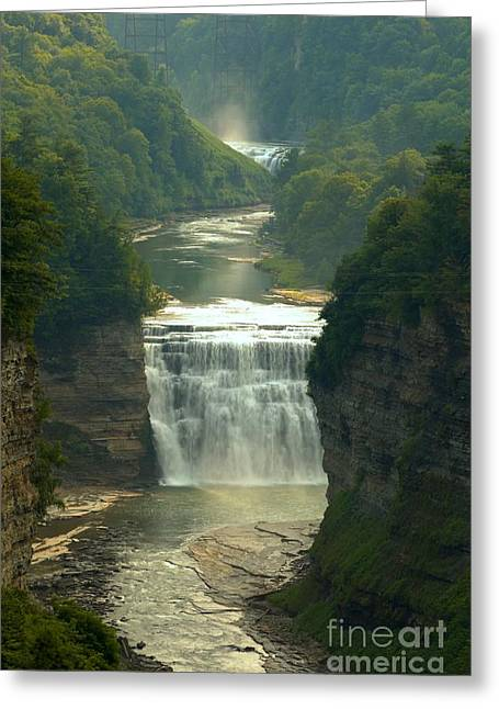 Inspiration Point Greeting Cards - Letchworth Inspiration Point Portrait Greeting Card by Adam Jewell