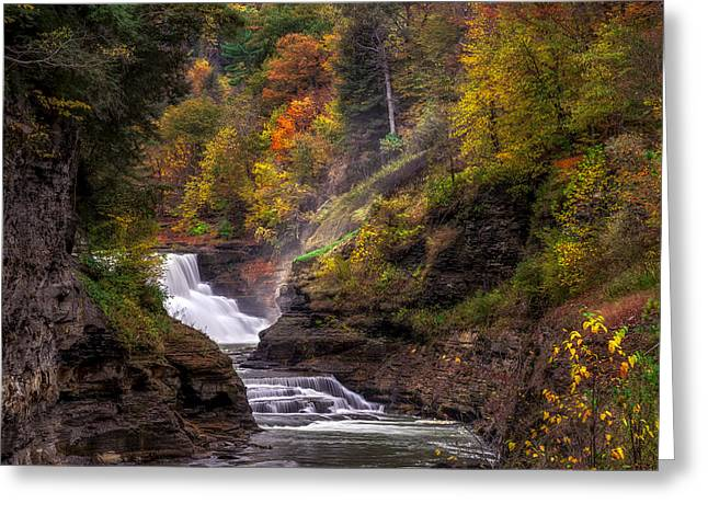 Beauty Mark Greeting Cards - Letchworth Lower Falls 2 Greeting Card by Mark Papke