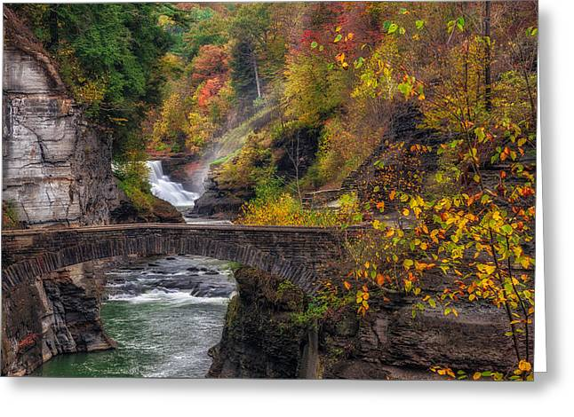 Recently Sold -  - Stream Greeting Cards - Letchworth Lower Falls Greeting Card by Mark Papke