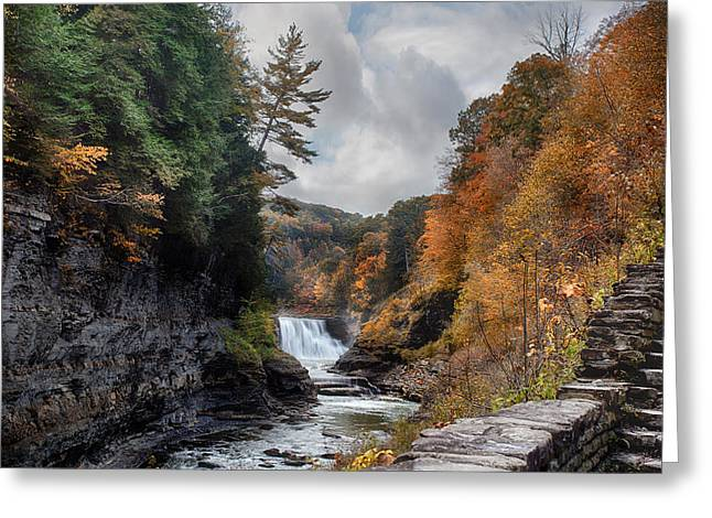 Geologic Greeting Cards - Letchworth Lower Falls Greeting Card by Peter Chilelli