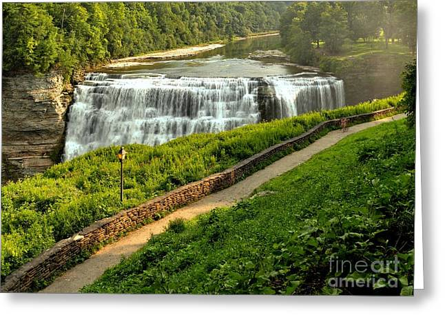 The Grand Canyon Greeting Cards - Letchworth Middle Falls Walkway Greeting Card by Adam Jewell