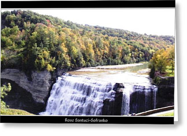 Santuci Greeting Cards - Letchworth State Park Middle Falls Panorama Greeting Card by Rose Santuci-Sofranko