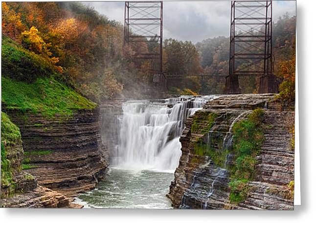 Geologic Greeting Cards - Letchworth Upper Falls 2 Greeting Card by Peter Chilelli