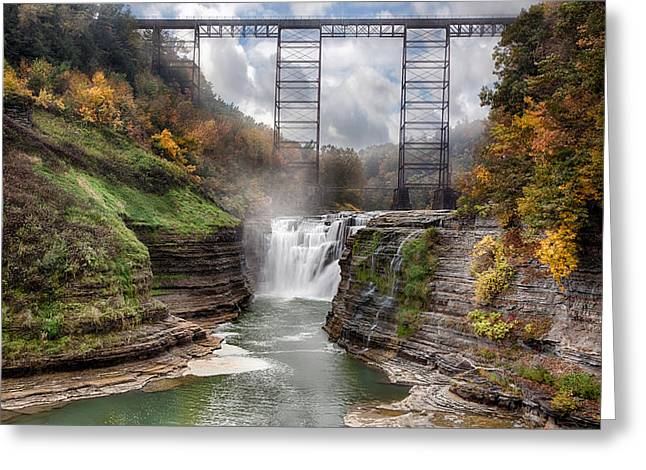 Geologic Greeting Cards - Letchworth Upper Falls Greeting Card by Peter Chilelli