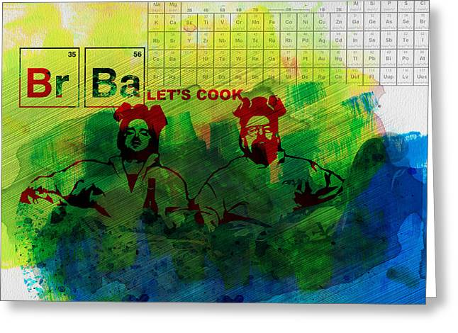 Breaking Bad Greeting Cards - Lets Cook Watercolor Greeting Card by Naxart Studio