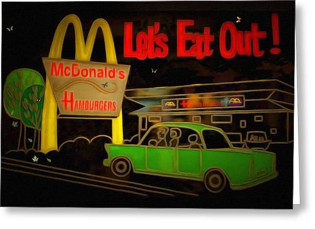 Vintage Painter Greeting Cards - Lets Eat Out Greeting Card by L Wright