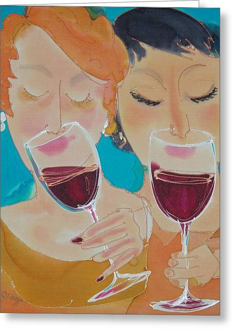Winetasting Greeting Cards - Lets Get Together Greeting Card by Jill Targer