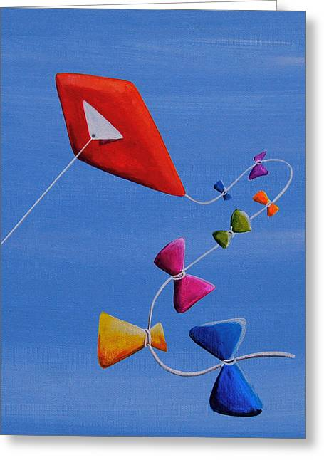 Kid Paintings Greeting Cards - Lets Go Fly A Kite Greeting Card by Cindy Thornton