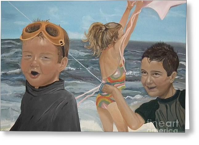 Beach - Children Playing - Kite Greeting Card by Jan Dappen