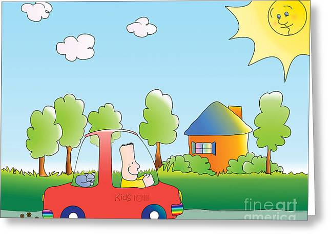 Childre Greeting Cards - Lets Go Pizza Greeting Card by Kids Lolll