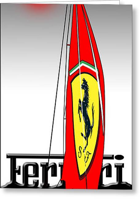 Checquered Greeting Cards - Lets Go Sailing With Ferrari Greeting Card by Peter Stevenson