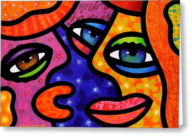 Abstract Faces Greeting Cards - Lets Go Shopping Greeting Card by Steven Scott