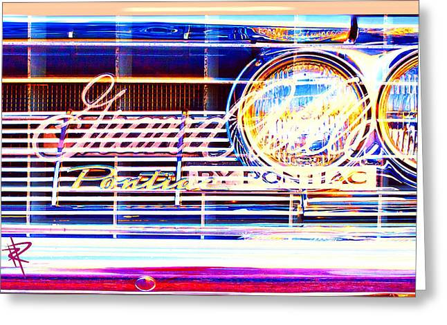 Headlight Mixed Media Greeting Cards - Lets Grille Greeting Card by Russell Pierce