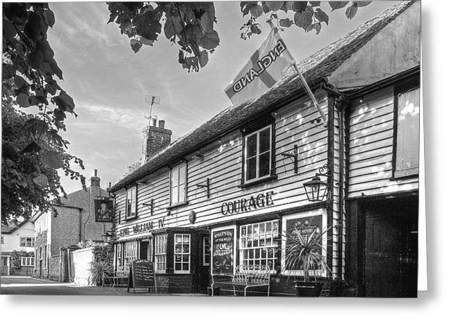 Old Inns Greeting Cards - Lets Meet For A Beer - King William IV Pub - Black and White Greeting Card by Gill Billington