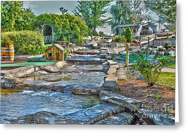 Stepping Stones Greeting Cards - Lets minigolf Greeting Card by Claudia Mottram