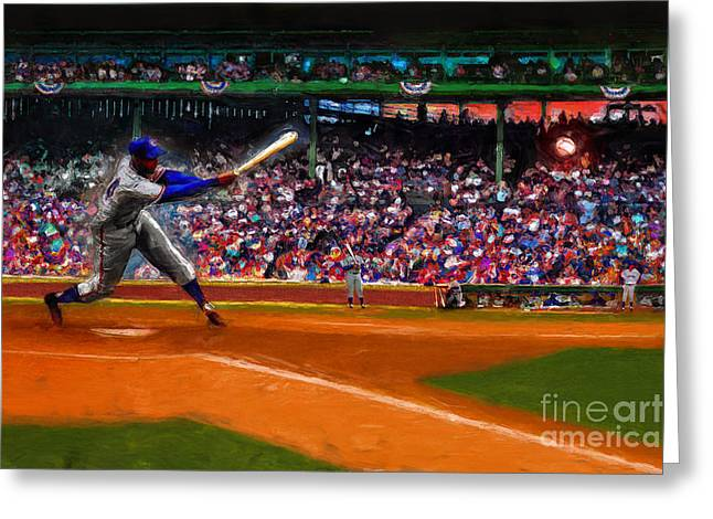 Baseball Field Mixed Media Greeting Cards - Lets Play Two Greeting Card by Alan Greene