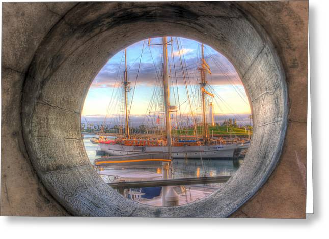 Wooden Ship Greeting Cards - Lets Pretend Its A Porthole Greeting Card by Heidi Smith
