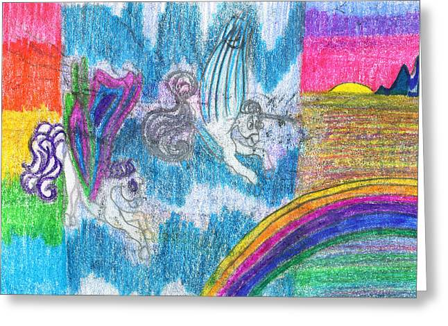 Extinct And Mythical Drawings Greeting Cards - Lets Race Greeting Card by Kd Neeley