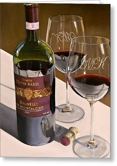 Recently Sold -  - Red Wine Prints Greeting Cards - Lets Reminisce Greeting Card by Brien Cole