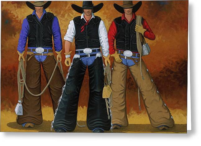 Arizona Cowboy Greeting Cards - Lets Ride Greeting Card by Lance Headlee