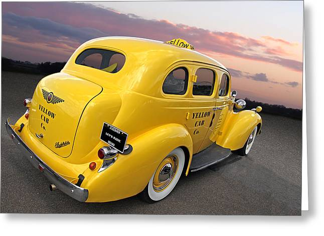 1930s Decor Greeting Cards - Lets Ride - Studebaker Yellow Cab Greeting Card by Gill Billington