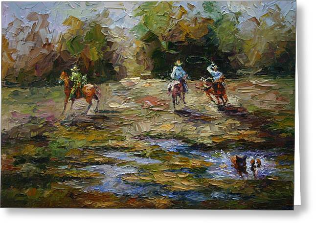 Pallet Knife Greeting Cards - Lets Rodeo Greeting Card by Yuxiao Du