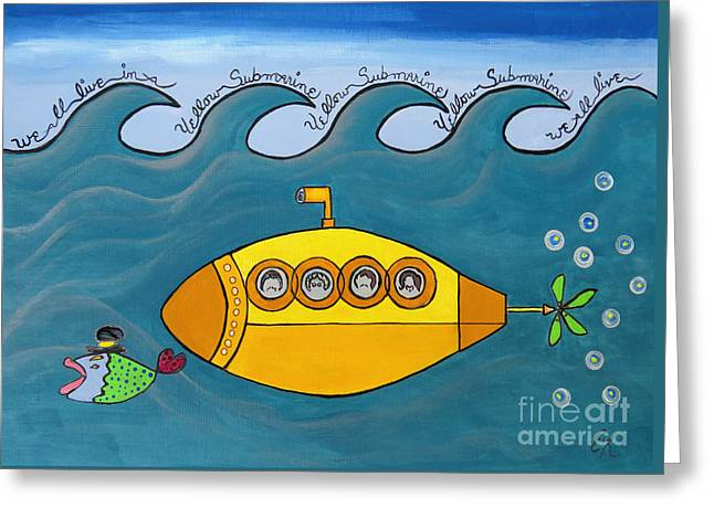 John Lennon Quote Greeting Cards - Lets Sing The Chorus Now - the Beatles Yellow Submarine Greeting Card by Ella Kaye Dickey