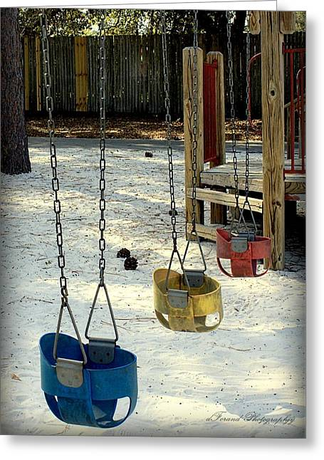Missing Child Photographs Greeting Cards - Lets Swing Greeting Card by Debra Forand