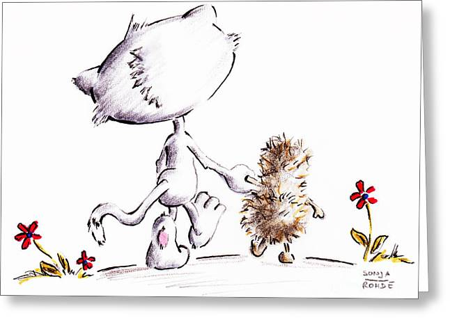 Holding Flower Drawings Greeting Cards - Lets walk to the rainbow Greeting Card by Sonja Rohde