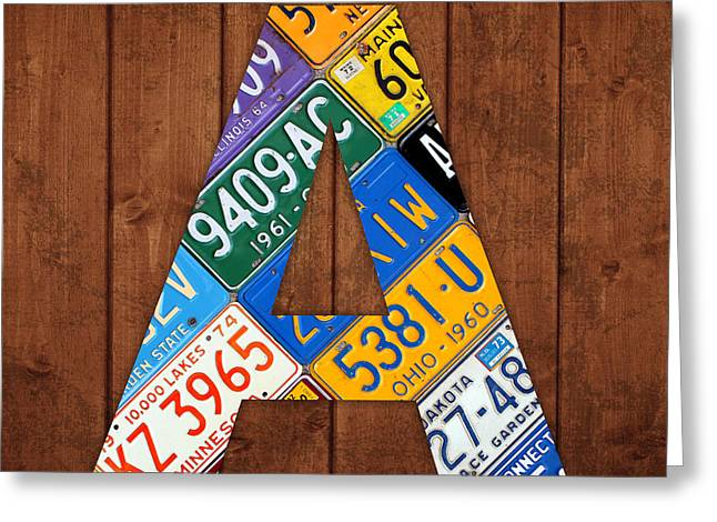 Carolina Mixed Media Greeting Cards - Letter A Alphabet Vintage License Plate Art Greeting Card by Design Turnpike