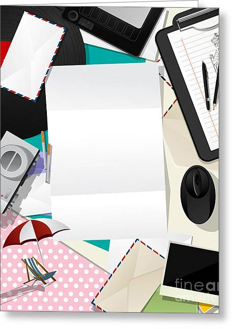 Chaise Digital Art Greeting Cards - Letter collage abstract Greeting Card by Richard Laschon