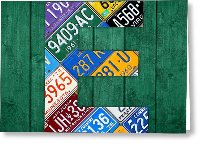 Letter E Alphabet Vintage License Plate Art Greeting Card by Design Turnpike