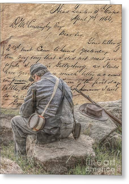Soldiers From The Civil War Greeting Cards - Letter From the Front Breaking the News Greeting Card by Randy Steele