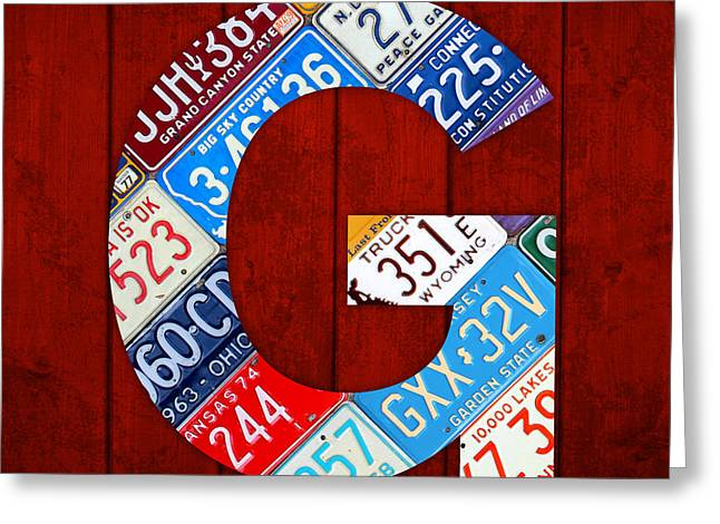 Letters Greeting Cards - Letter G Alphabet Vintage License Plate Art Greeting Card by Design Turnpike