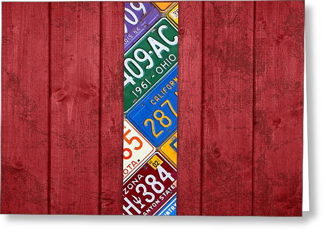 Letters Greeting Cards - Letter I Alphabet Vintage License Plate Art Greeting Card by Design Turnpike