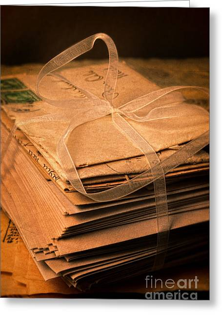 Love Letter Greeting Cards - Letter in Ribbon Greeting Card by Jill Battaglia
